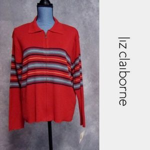 NWT Liz Claiborne Zip Front Red Sweater Size L